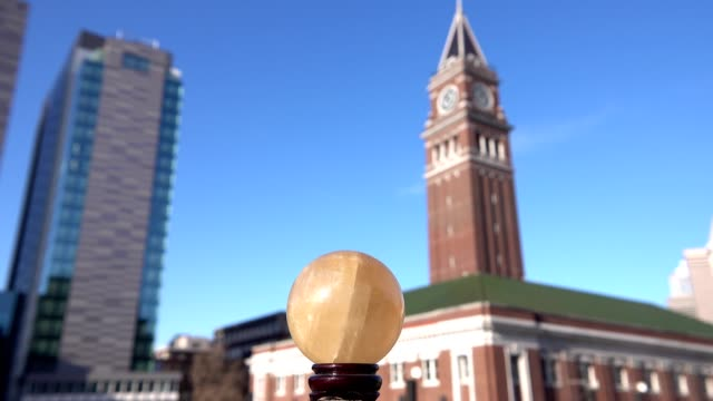 Golden crystal ball and Seattle downtown for hope and fortune video