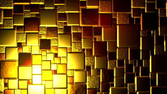 Golden Cubes Background In 4k video