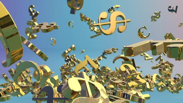 golden currencies falling,eur,usd,gbp, alpha - pound sterling isolated bildbanksvideor och videomaterial från bakom kulisserna