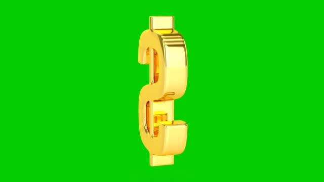 golden dollar-schild-isoliert - dollarsymbol stock-videos und b-roll-filmmaterial
