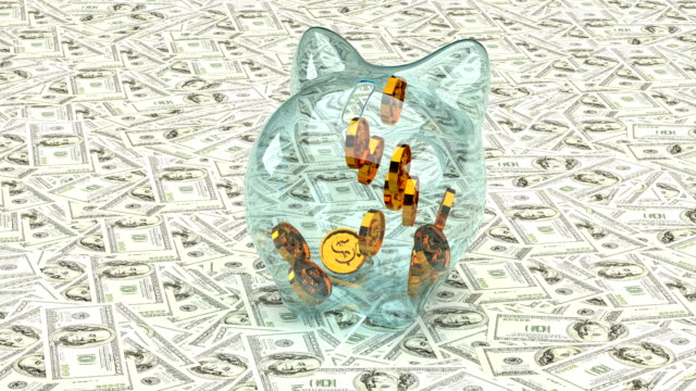 Golden dollar symbols fall into a glass piggy bank on a background of paper dollar bills. 3D animation Golden dollar symbols fall into a glass piggy bank on a background of paper dollar bills. 3D animation. us coin stock videos & royalty-free footage