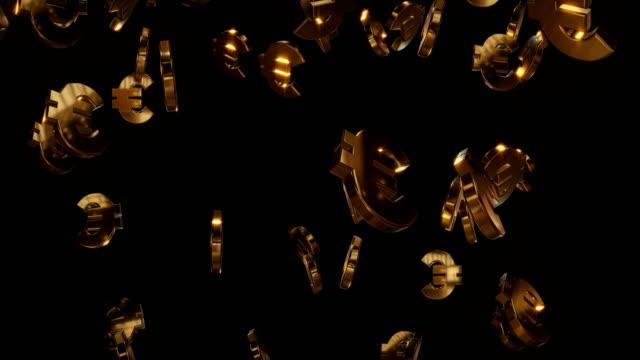 goldene euro symbole | tragbar - euros cash stock-videos und b-roll-filmmaterial
