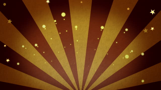 Golden fireworks and stars moving background with copyspace for advertisement or message video