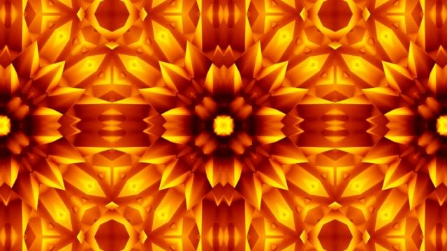 golden flower - узор калейдоскоп стоковые видео и кадры b-roll