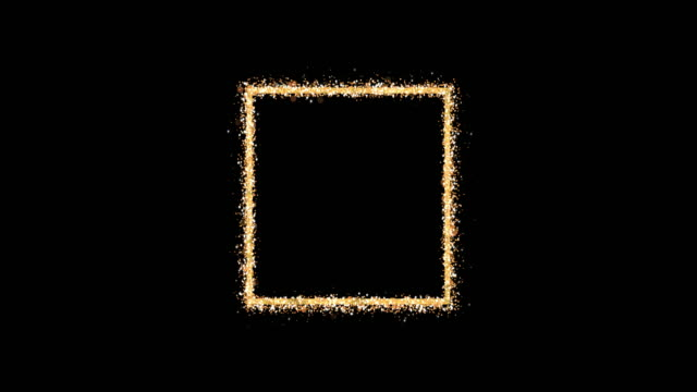 Golden frame. An empty square emits shiny particles of glitter on a black background. Element for celebratory composition. Looping 3D animation