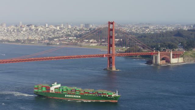 golden gate bridge and a cargo ship - nave mercantile video stock e b–roll