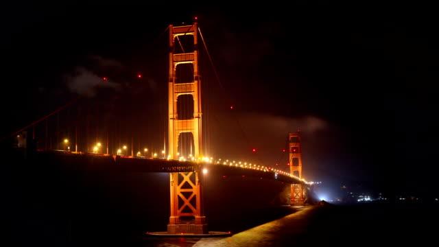 Golden Gate Bridge at night, San Francisco video