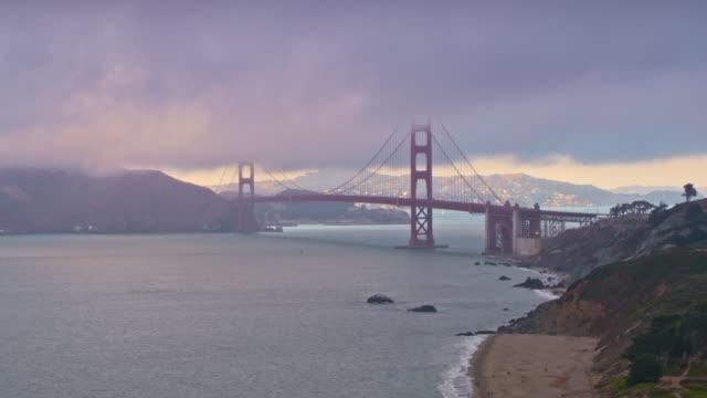 AERIAL Golden Gate Bridge in fog
