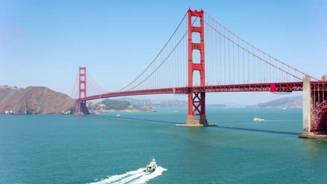 AERIAL Golden Gate Bridge in San Francisco in sunshine