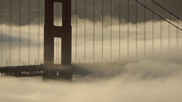 Golden Gate Bridge Low Fog Sunrise with foghorn audio