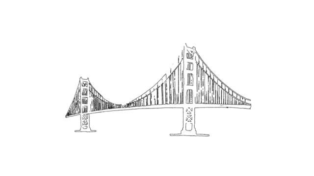 golden gate bridge outline animation hand drawn sketch build up and down - набросок стоковые видео и кадры b-roll