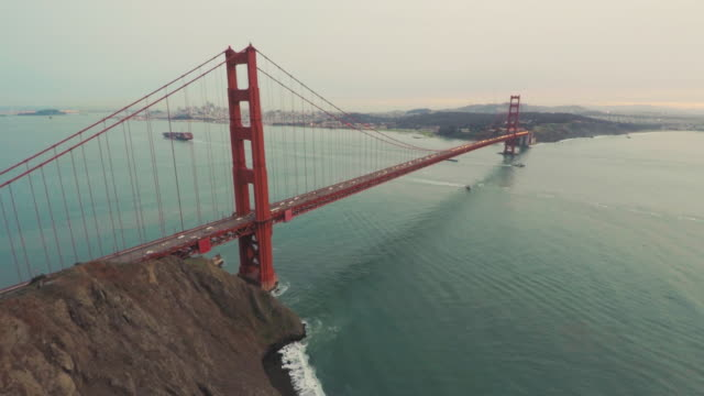 Golden Gate Bridge San Francisco Bay Aerial video