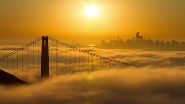 Golden Gate Bridge Sunrise in Low Fog