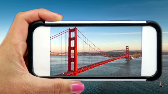 Golden Gate Bridge through a Mobile Phone video