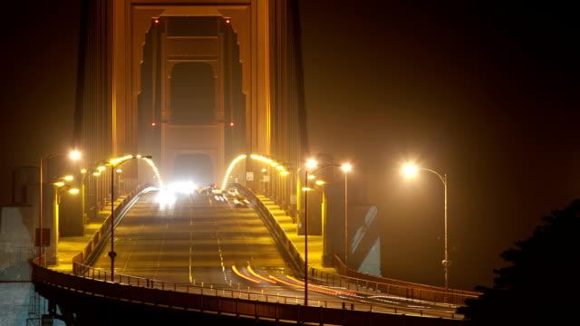 Golden Gate Bridge traffic at night video