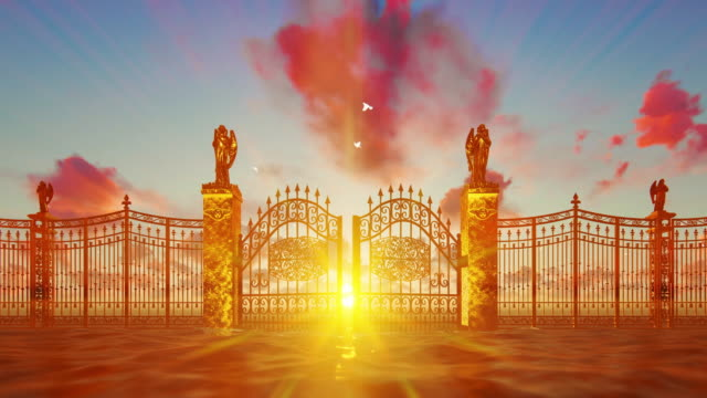 golden gates of heaven opening against magical sunset and flying white doves - paradiso video stock e b–roll