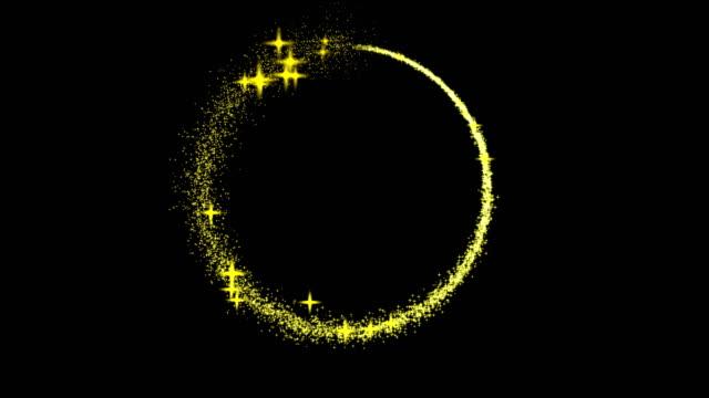 goldener glitzerkreis mit stern funkelnden licht glanz. helles licht funken mit bokeh-effekt. gold glitzernring glänzendes teilchen, magie schimmern glühen - bling bling stock-videos und b-roll-filmmaterial