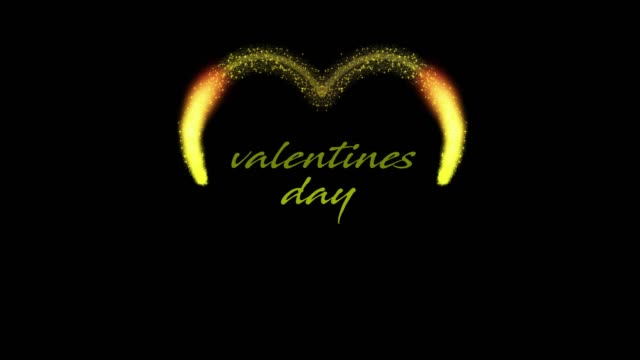 golden heart shaped animation on black background for valentines day, 4k video - simbolo concettuale video stock e b–roll