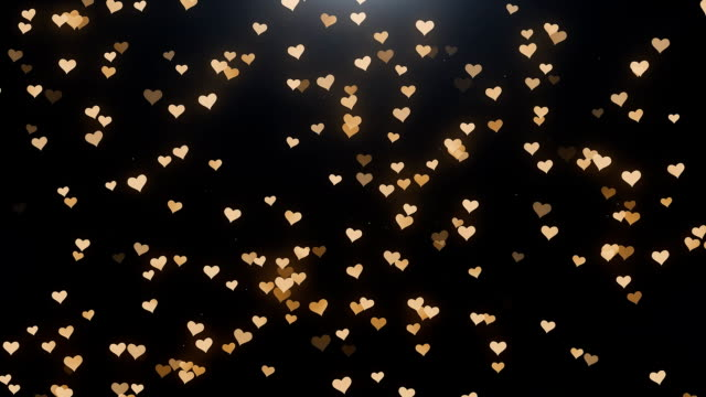 gyllene hjärtan på svart bakgrund - hjärtform bildbanksvideor och videomaterial från bakom kulisserna