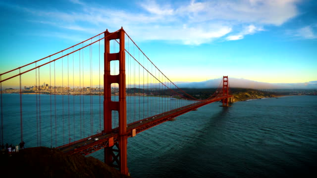 Golden Hour colors wrapping across entire horizon at the Golden Gate Bridge