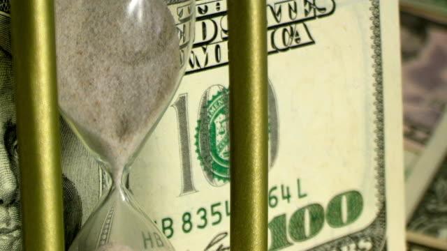 Golden hourglass and 100 dollar bill 2 video