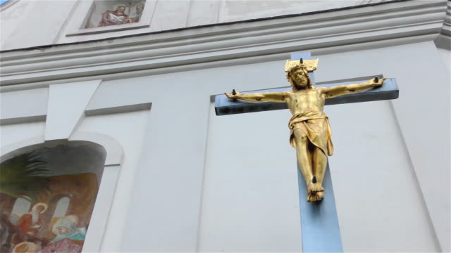 Golden Jesus Christ on The Cross – Small Church, Crucifix