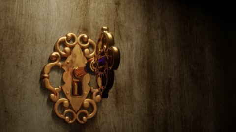 Golden key opens an old door with green screen behind A golden brass key unlocks the old door lock with the light shining through the keyhole. The door opens and it reveals the green screen that fills the frame - 3D illustration door stock videos & royalty-free footage