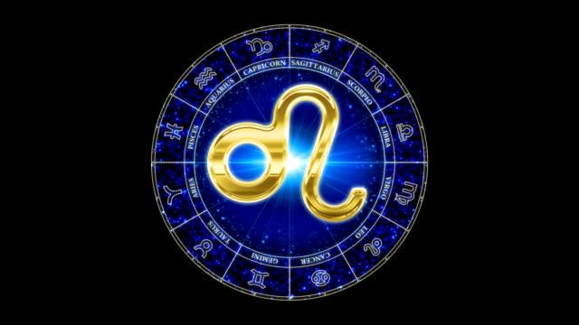 golden leo zodiacal symbol video
