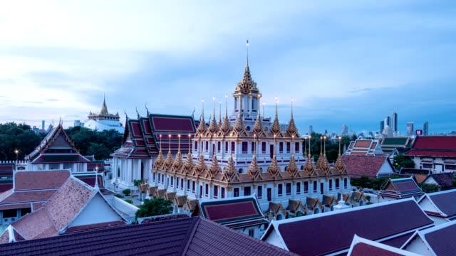 Golden metal castle illuminated, Wat Ratchanatdaram Woravihara, Loha Prasat temple in the morning at Bangkok, Thailand