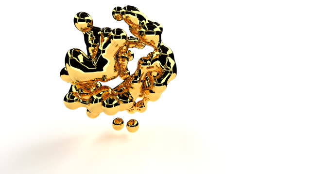 golden metal deforming shape abstract 3d footage. shiny metallic metaball particles disintegration realistic animation. gold foil, dissolving chemical substance isolated on white background video - metallizzato video stock e b–roll