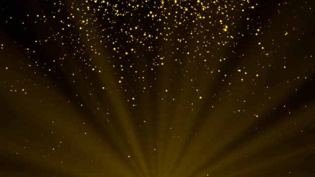4K Golden or yellow dust particle with flare light seamless abstract background. copy space place for your logo and text. Motion graphic and animation background. video