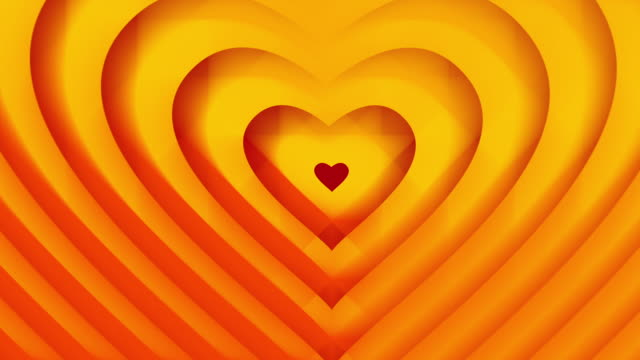 Golden orange hearts shape grows. Seamless loop animation. Valentines Day Love and wedding concept. video