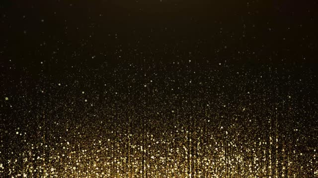 vídeos de stock e filmes b-roll de 4k golden particle bokeh dust light rising, luxury particle stripe loop background. - glamour