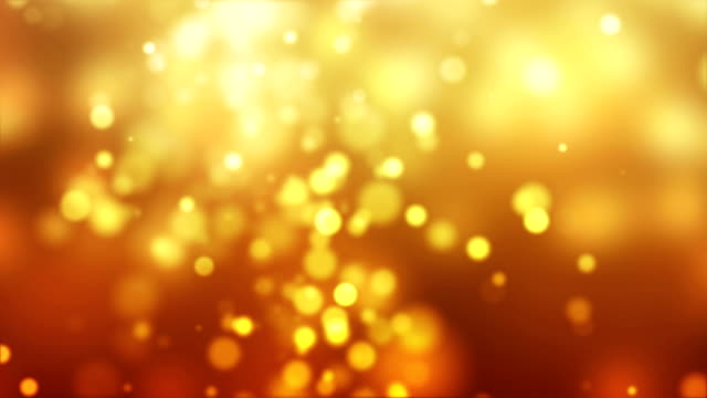 Golden Particles Glittering Abstract Background -4K video