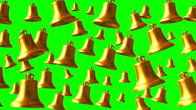 三緑色の画面上の鐘鳴って 4 k. ゴールデンループします。 - 教会点の映像素材/bロール