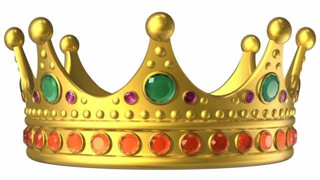 vídeos de stock e filmes b-roll de coroa real de ouro - coroa