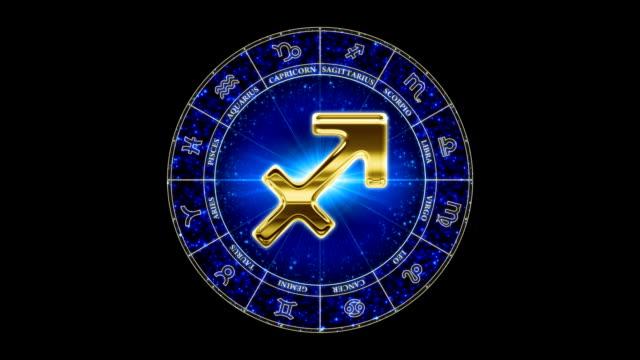 golden schütze zodiac symbol - sportliga stock-videos und b-roll-filmmaterial
