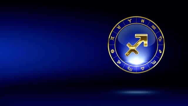 vidéos et rushes de sagittaire zodiacal symbole doré avec en arrière-plan - ligue sportive