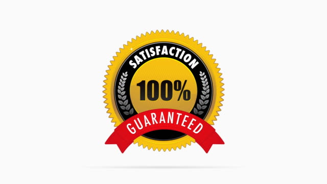Golden satisfaction badge Golden 100% satisfaction guaranteed badge satisfaction stock videos & royalty-free footage