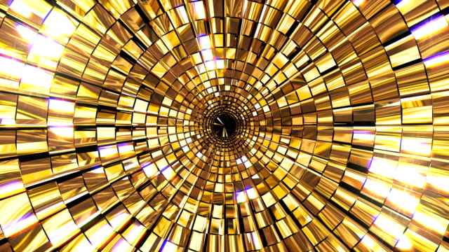 Golden Shine Circle Mosaic 4K golden shine abstract stage background. Seamless loop motion graphics for night club, visual projection, screen, music video, entertainment, VJ, background, animation visual art, party, audio visualization, fashion show changing form stock videos & royalty-free footage