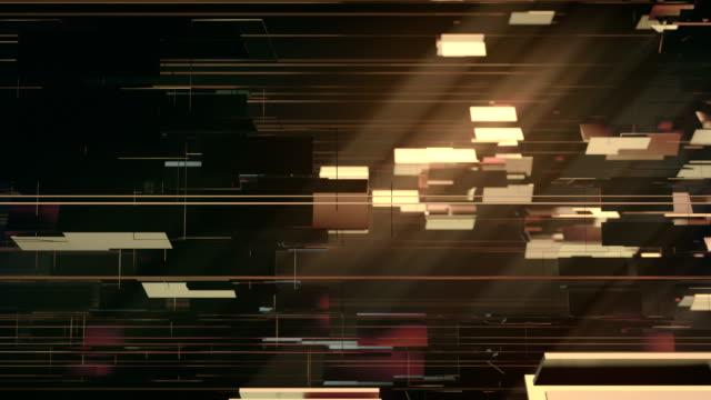golden shiny metallic rectangular shapes rotating around horizontal axis. luxurious motion graphics background. 3d rendering. 4k, ultra hd resolution. - złoty kolory filmów i materiałów b-roll