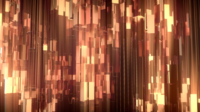 Golden shiny metallic rectangular shapes rotating around vertical axis. Luxurious motion graphics background. 3d rendering. 4K, Ultra HD resolution.