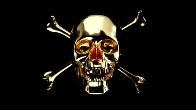 Golden Skull with crossed bones or totenkopf with alpha