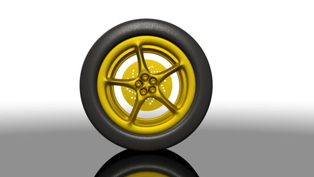 Golden Sports Car Tire Rolling video