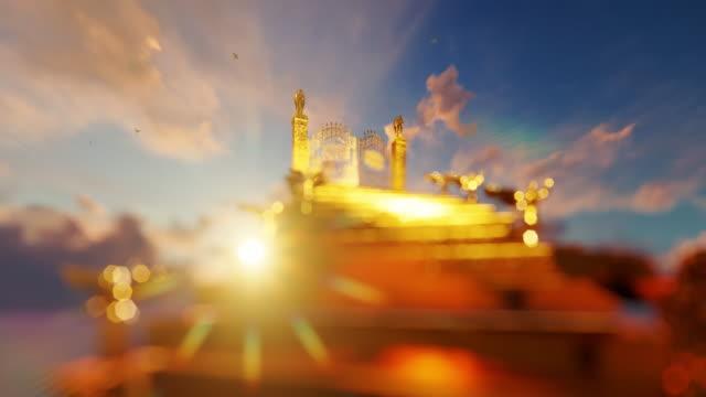 魔法の夕日と飛ぶ鳩に対して開く天国の門への黄金の階段、4k - 階段点の映像素材/bロール