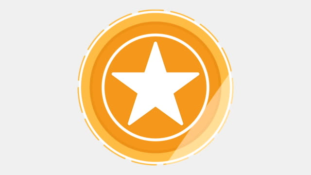 Golden star medal or coin looped rotate.