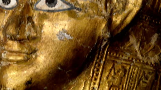 Golden statue of the Egyptian Pharoah video