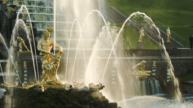 Golden sunlight on Samson fountain in Peterhof Russia