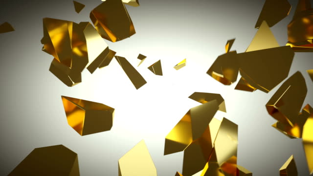 golden wall shatter as financial crisis or decline concept. slow motion - scatola del tesoro video stock e b–roll
