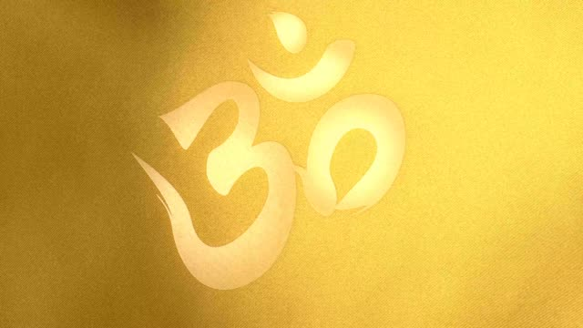 Golden windy flag with a Om symbol